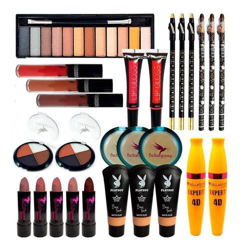 Combo Maleta De Maquiagem Pincéis Pó Base Matte Sombra Nude - Nova Avenida Eshop | Os melhores