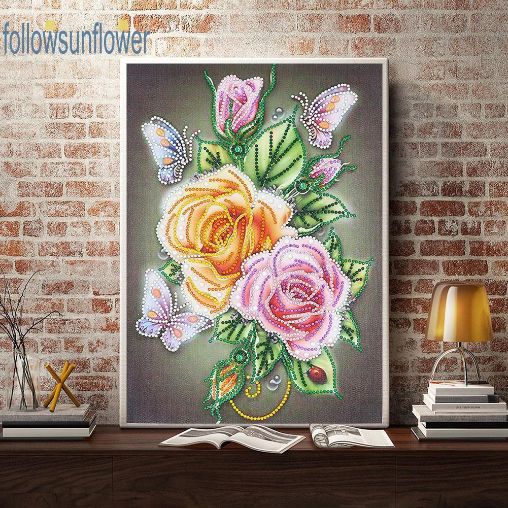 Pintura de diamantes 5D Kit De Flor Rosa Libélula
