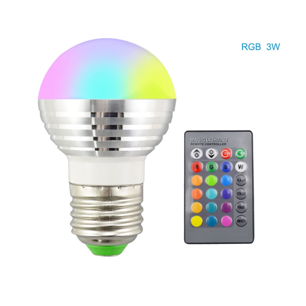 E27 3W RGB LED Light Bulb 16 Colour Changing Lamp with Remote Control for Party
