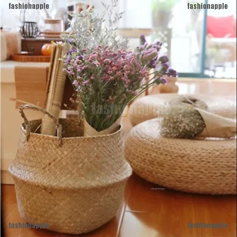 Foldable Seagrass Belly Basket Storage Plant Pot Nursery Laundry Bag Room Decor