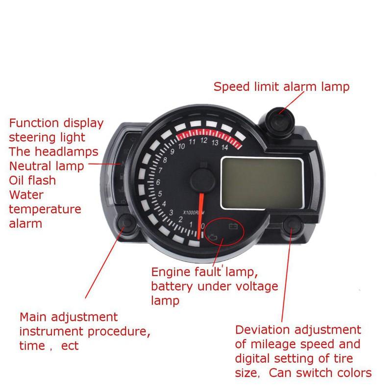 Universal Motorcycle ATV Gear Display Speed Indicator Gauge Mount Holder Black