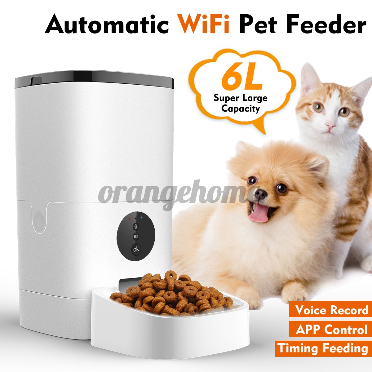 Wifi Button Version 6l Automatic Pet Feeder App Control Voice Recording Timing Feeding Food Dispenser For Cat Dog Shopee Brasil