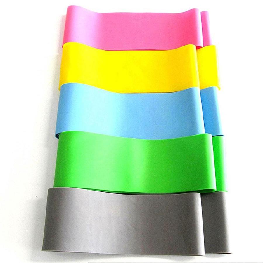 5 faixas coloridas, nas cores rosa, amarela, azul, verde e cinza
