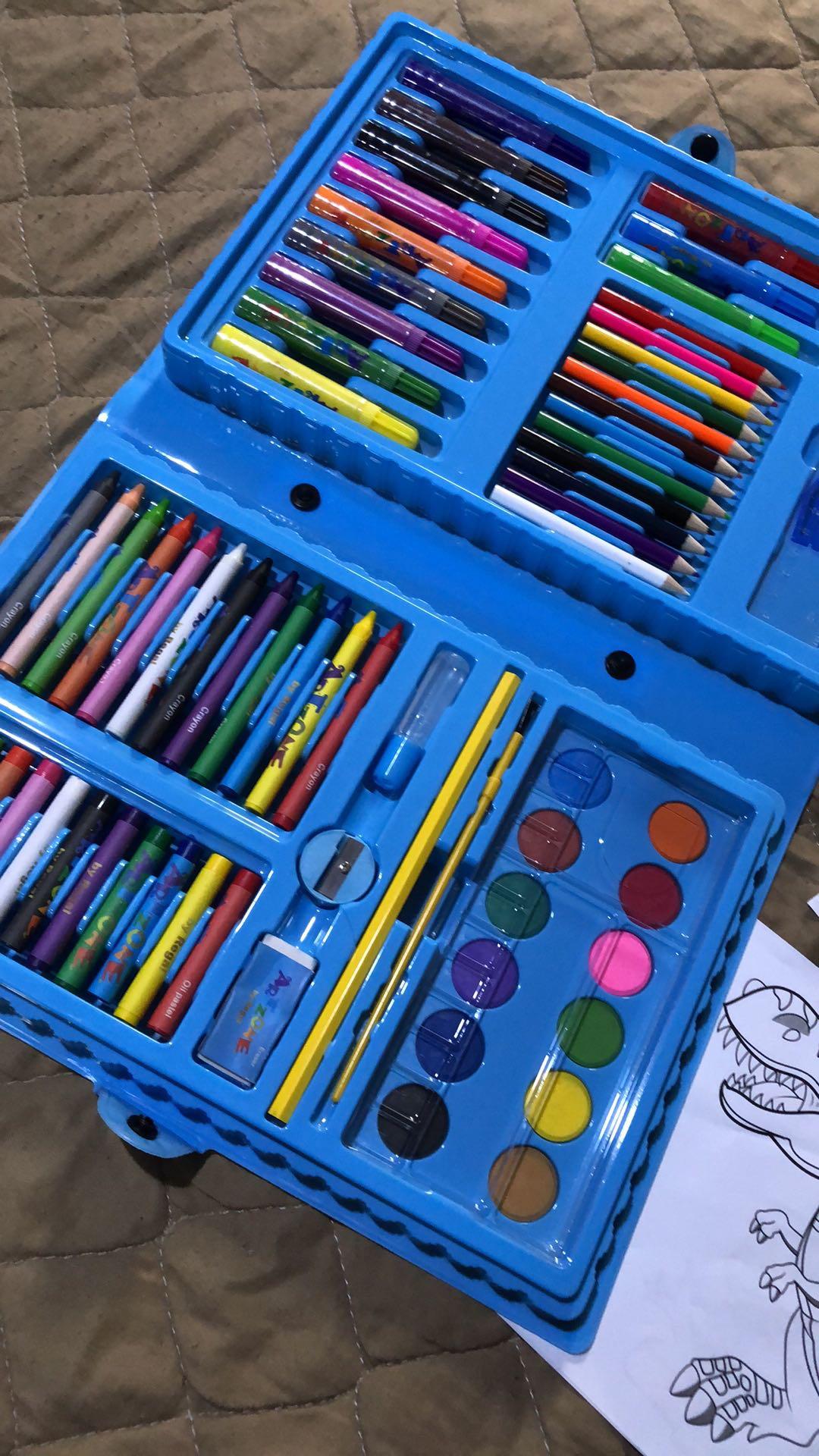 Estojos Maleta De Pintura Infantil Com Canetinhas Giz e Lápis! Mais Desenhos Para Colorir!