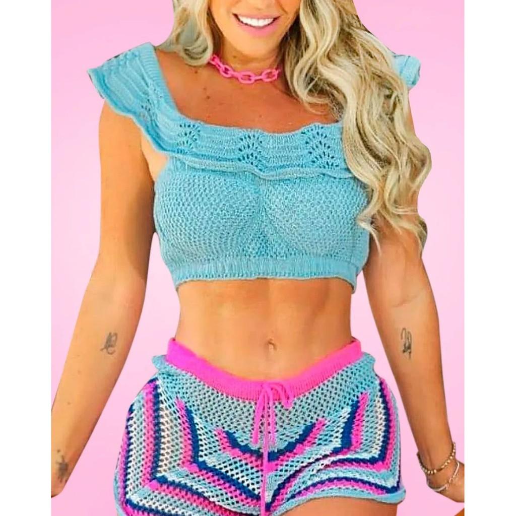 Conjunto Saída De Praia Top E Shorts Crochê Tricot Verão Modelo 2 | Shopee  Brasil