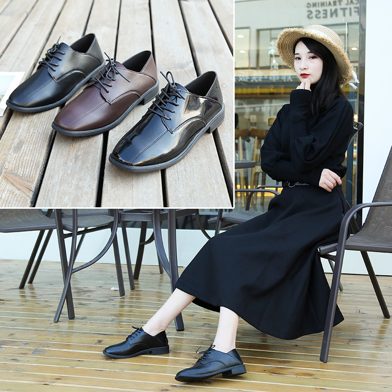 black fashion leather shoes