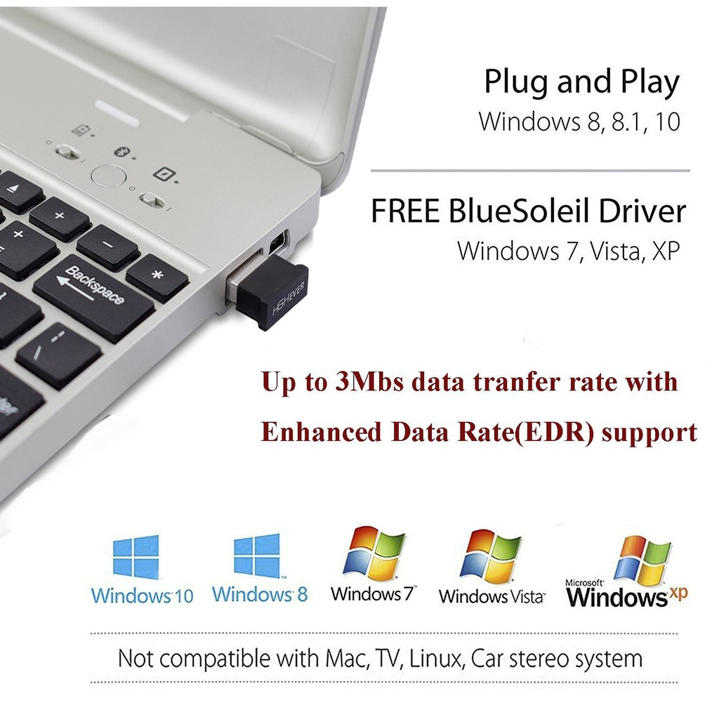 USB Bluetooth 5.0 Adapter Compatible with Bluetooth Mouse//Keyboard//Speakers//Headset Works with Windows 10//8.1//8//7//Vista//XP Wireless Bluetooth Dongle for PC Desktop Laptop Tablet