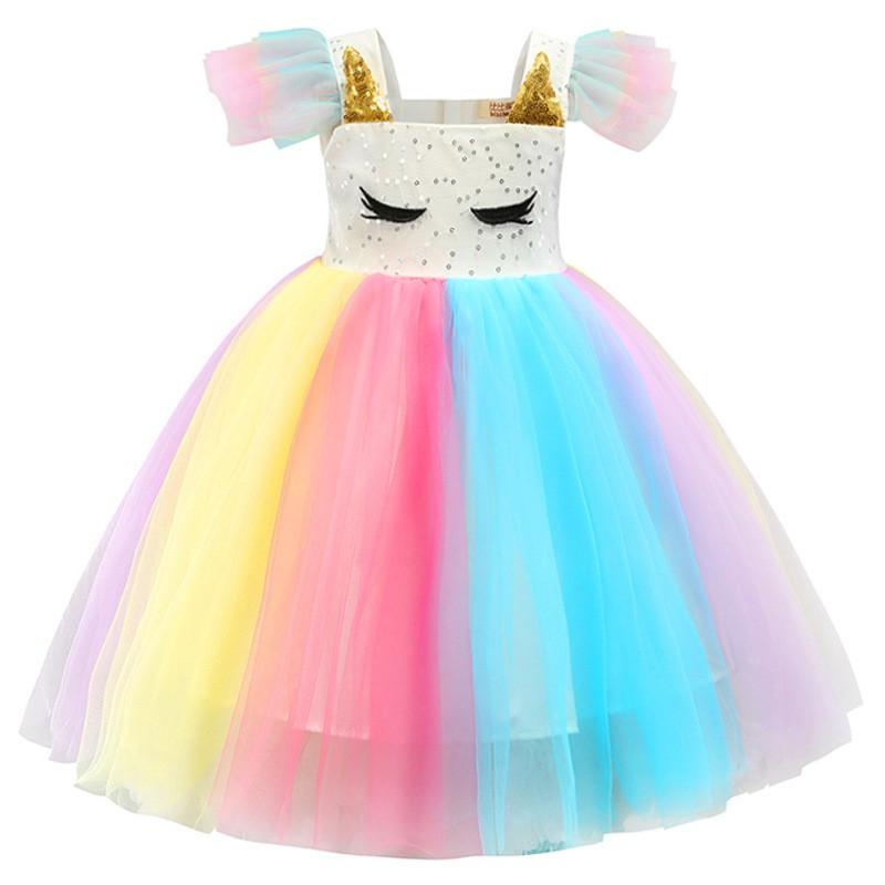 Vestido Feminino Infantil Fantasia De Malha Cosplay Desenho Animado Princesa Unicornio Arco Iris Shopee Brasil
