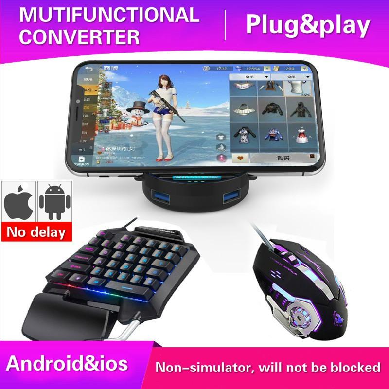 Call of duty pubg móvel bluetooth gamepad gaming teclado mouse conversor para android e ios