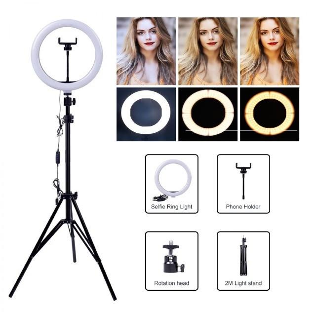 Ring Light Led Iluminador Com Tripé 360º 10 polegadas + Tripé 2.1m | Shopee Brasil
