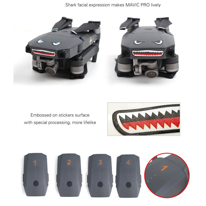 Shark Sticker Decoration Water-proof Decal Cover for DJI Mavic Pro Drone