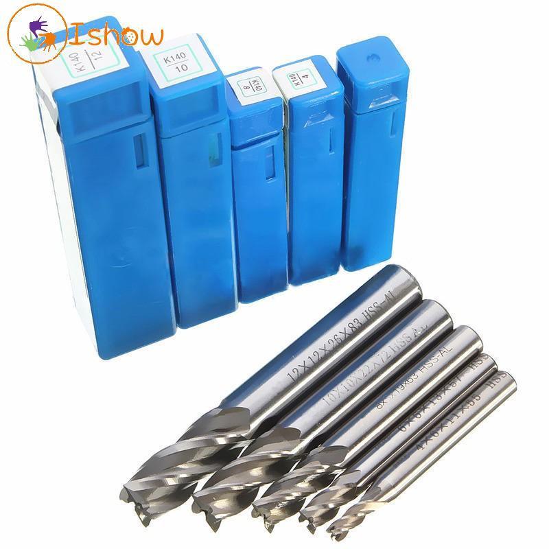 5x HSS CNC 4 Edge 1//4/'/' Shank End Mill Cutter Milling Machine Cutter 1//4/'/' Bit