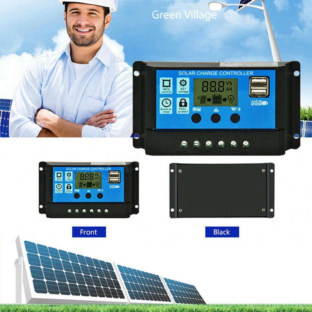 12V//24V LCD Auto Work Solar Charge Controller PWM Dual USB Output Charger NEW