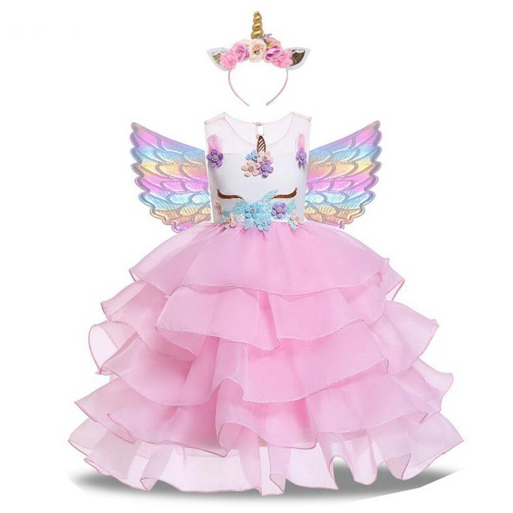 Vestido Infantil Feminino Com Flores De Unicornio 1 10 Anos Shopee Brasil