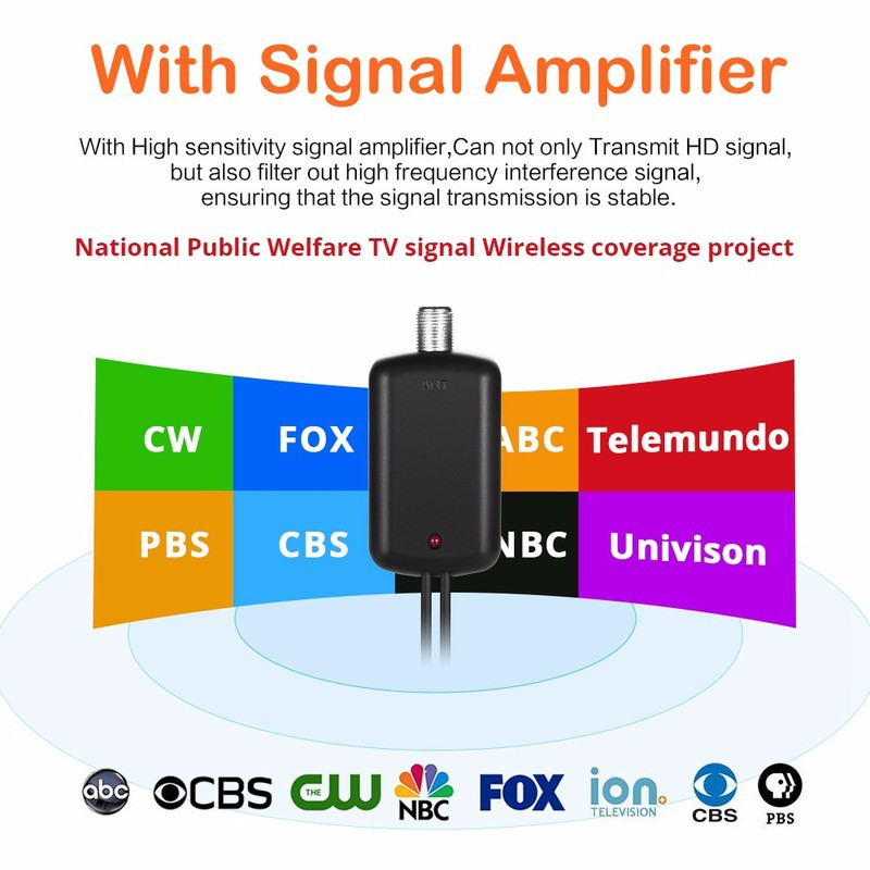 Support 4K 1080P 55+ Miles Amplified Indoor TV Antenna Digital TV Antenna Power Adapter and 13.2ft Longer Coax Cable VHF UHF Freeview Channels with Detachable Amplifier