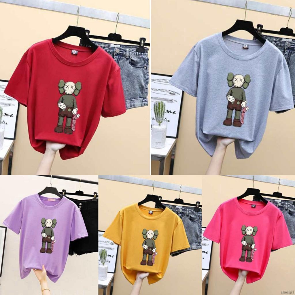 Mulheres Kaws T Shirt Dos Desenhos Animados Unisex Causal Solta Tops Casal T Shirt S 3xl Shopee Brasil