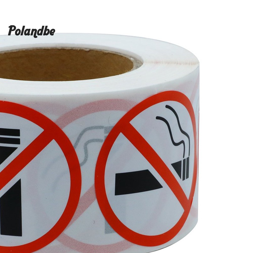 500Pcs//Roll No Smoking Logo Sign Restaurant Bus Shop Round Warning Stickers