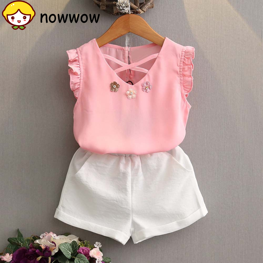 Bebê Infantil Menina T-shirt Colete Tops shorts calças 2PCS roupas de verão roupa