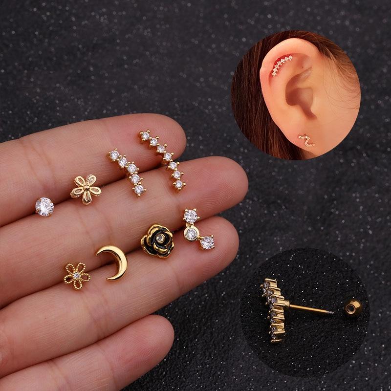 Brinco De Cartilagem Piercing De Conch Helix Com Tarraxa Shopee Brasil