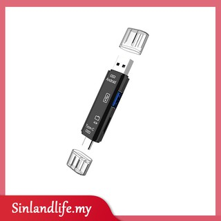 5-in-1 USB-C Type C Micro USB OTG SD TF Card Reader For Phone PC Tablet