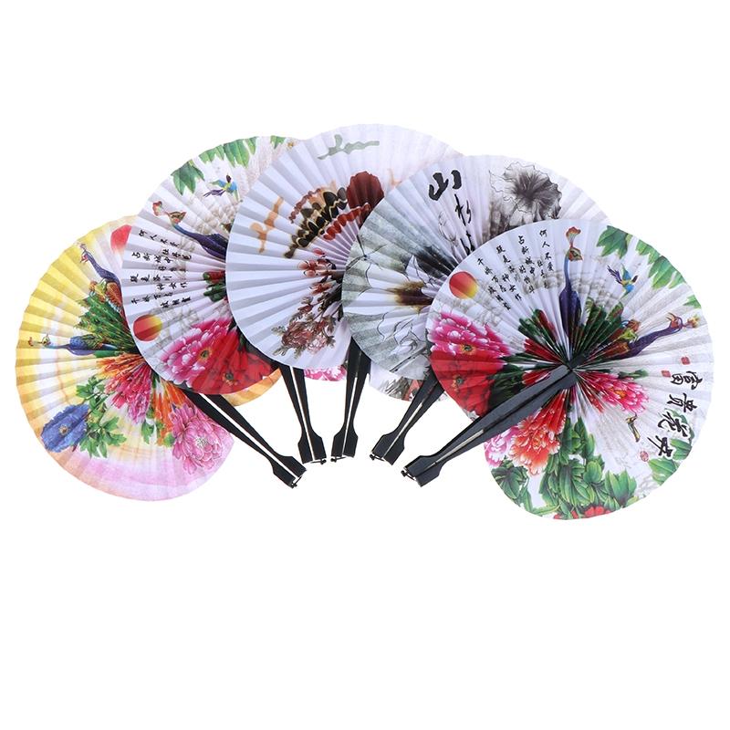 Papel Chinês 1x Mão Dobrável Fan Oriental Floral Pavão Para Festa Casamento Gi Jf