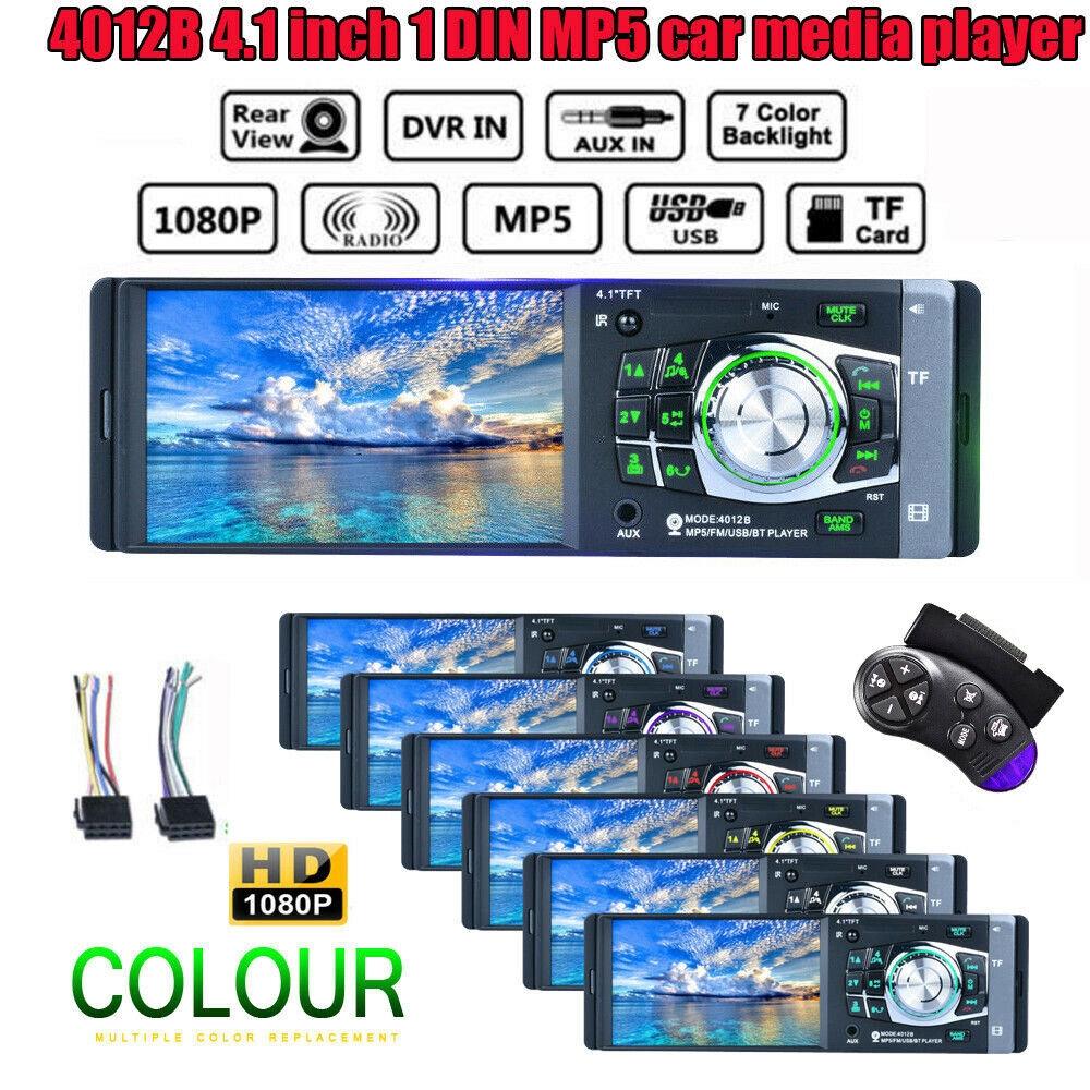 "Single 1DIN 4.1/"" HD Car Stereo Video MP5 Player BT FM Radio AUX USB SD TF Camera"