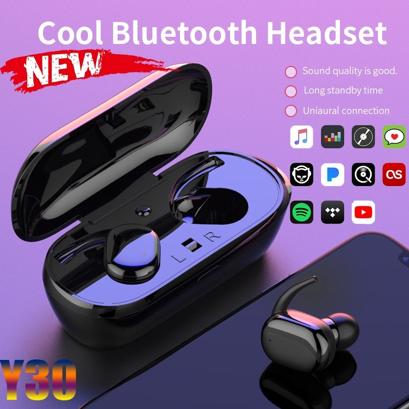 Fone De Ouvido Y30 TWS Esportivo Com Bluetooth 50 | Com Headset Estéreo Sem Fio Para Uso Externo!| Shopee Brasil