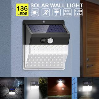 Litom 136 LED Solar Wall Light Outdoor Waterproof Motion Sensor Security Lamp