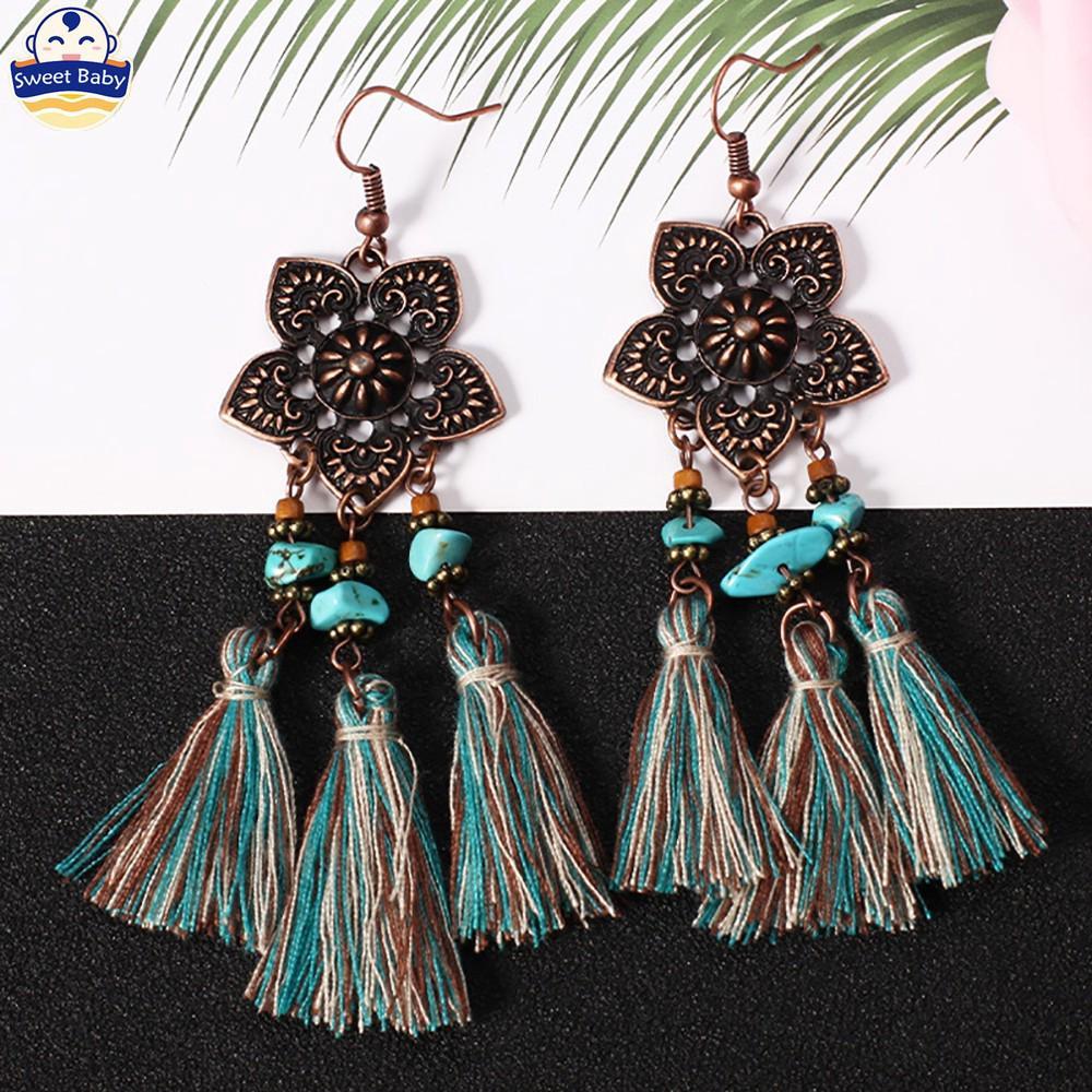 Women Boho Natural Leaf Drop Dangle Ear Hook Alloy Earrings Jewelry Party Gift