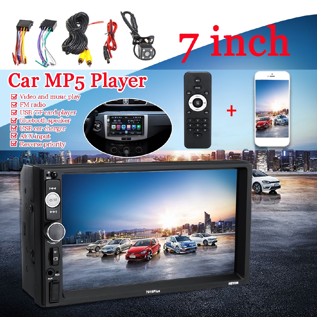with Camera Car Stereo 1 Din MP5 Player Bluetooth Hands-Free Car Radio 7 inch 800 480 HD 1080P Car Video Player in-Dash Car Screen AUX Input Car Device with Remote Control//Steering Wheel Control